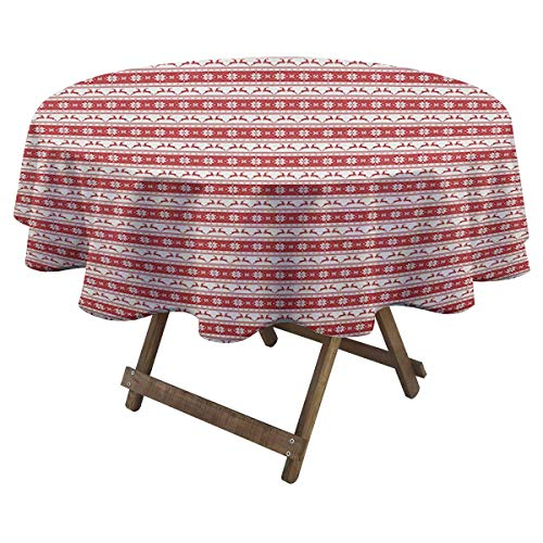 Zara Henry Christmas Waterproof Tablecloth Norwegian Scandinavian Traditional Vintage Style Borders Reindeer Striped Flower Bistro Party Tablecloth D 54' Red White
