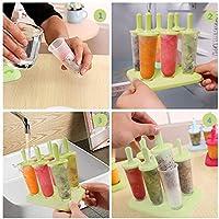 SUFUS Stampi per Gelato, Stampi ghiaccioli Stampi per Gelati 6 Produttori di Ghiaccioli, FDA e BPA Gratis, Ideale per la Preparazione di ghiaccioli, Gelati, sorbetti (Verde) #6