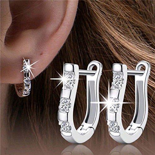 Row_120cc Women's Sterling Silver Ear Hoop Earrings Ear Stud (D)