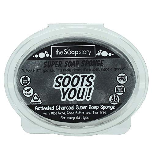The Soap Story Esponja de jabón de carbón activado, 150 g