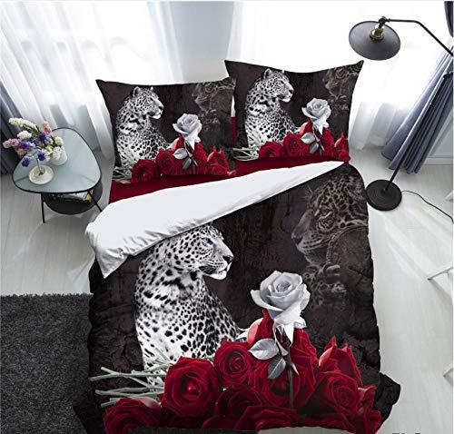 Juego de Ropa de Cama 3 Piezas 3D Leopard Rose Red Microfibra Edredón,Juego de edredón,Juego de Cama de tamaño 135x200cm Fundas Nórdicas con Cremallera Y 2 Fundas De Almohada 50x75cm