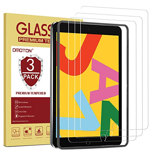 OMOTON [3 Pack] Screen Protector for iPad 7th Generation (10.2 Inch, iPad 7, 2019) / iPad Air 3 2019 / iPad Pro 10.5- Tempered Glass/Apple Pencil Compatible/Easy Installation