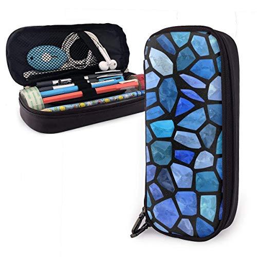 Papelería Bolsas,Estuche De Lápices De Cuero De Mosaico Transparente De Azulejos Azules, Bolsa De Lápices Personalizada, Estuche De Papelería Para Suministros De Oficina 20X9X4Cm