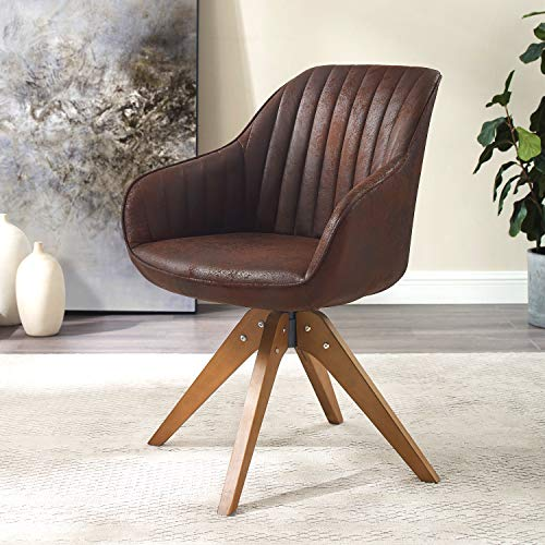 Art Leon Mid-Century Modern Swivel Accent Chair Brown with...