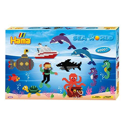 Hama 3035 - Geschenkverpackung Leben im Meer, ca. 6000 Bügelperlen, 3 Stiftplatten und Zubehör