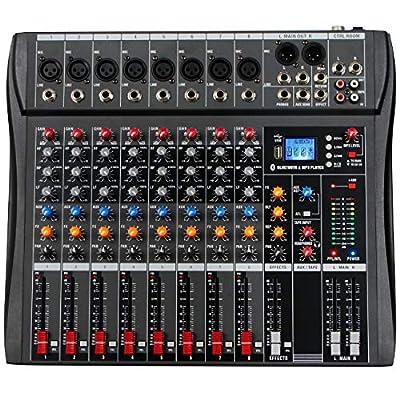 Depusheng 8 Channel Bluetooth USB Audio Mixer Sound Mixing Consoles Amplifier Digital Audio Mixer Professional for DJ Karaoke