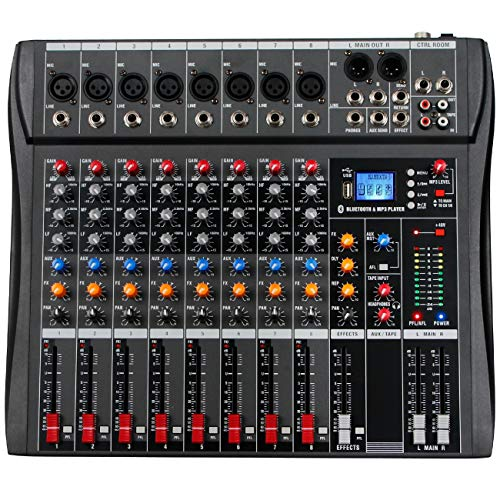 Depusheng 8 Channel Sound Mixing Console Bluetooth USB Record Computer Playback Phantom Power Effect 8 Channels USB Audio Mixer for Computer Recording, Bands