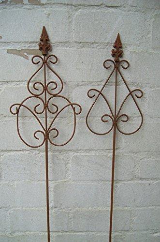Set 2 Gartenstäbe, Rankstab, Rosenstab, verziert, Eisen, Rost,140 cm