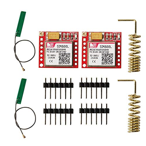 Comimark 2Pcs Smallest SIM800L GPRS GSM Phone Module Card Board Quad-Band Onboard + Antenna