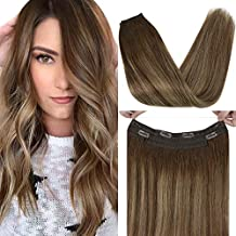 VeSunny Invisible Hair Extensions 16inch Halo Extensions Remy Secret Miracle Wire No Glue Human Hair Hairpiece Color #4 Dark Brown Ombre #27 Caramel Blonde Highlight Halo Hair 80G/Set