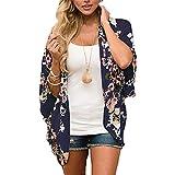 YONHEE Chal suelto de gasa, estampado floral de Bohemia, cubierta de kimono, ajuste holgado, estilo boho, para playa, diario, trabajo, fiesta Para Mujer [medio] [Azul marino]