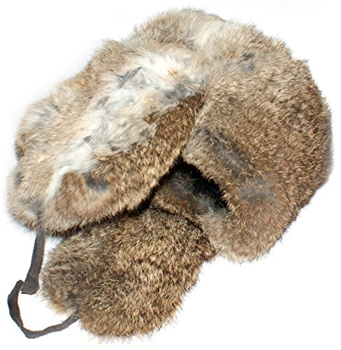 Winter Hat Russian Rabbit Fur Ushanka Brown-58