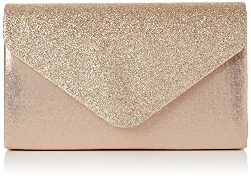 SwankySwans Damen Kelly Glitter Envelope Clutch Party Prom Bag Tasche, Gold (Champagne), One Size