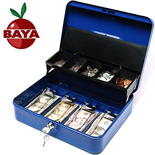 BAYA Cash Box with Money Tray | Key Lock | Tiered Coin Tray with Lid | Steel Cash/Money Storage Safe | for Petty Cash Security | 12 x 10 x 3.5 Inches | Blue