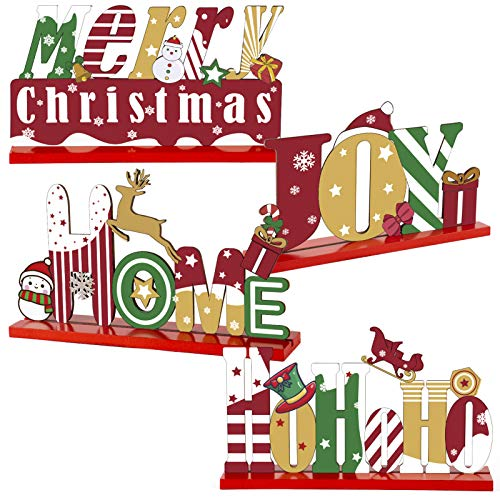 ANPHSIN Set of 4 Christmas Snowman Wooden Centerpiece Sign- Merry Christmas Table Toppers Table Signs with Xmas Theme Shaped Ornaments for Winter Christmas Party Table Top Decoration