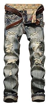NITAGUT Men s Ripped Slim Fit Tapered Leg Jeans Blue US 28
