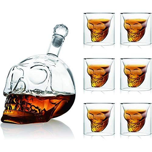 ZZA Jarra y Vaso de Whisky, Juego de Vasos de chupito de Calavera, Vasos de chupito de Cristal de 1000 ml y 6 Copas de Vino de Calavera de 75 ml