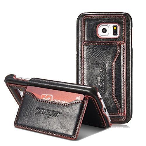 Samsung Galaxy S6 Backcover von TWOWAYS - NEU - mit Standfunktion & Kartenhalter in der Farbe schwarz