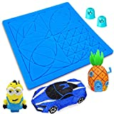 AMZBY 3D Pen Mat, 6.8 x 6.8 Inches 3D Printing Pen Mat Silicone Basic Stencils Templates Pad with 2 Finger Protectors, 3D Pen Accessories Drawing Tools Gift for Kids and Adults 3D Pen Beginners