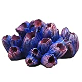 Xuebai Adorno de Arrecife de Coral para Acuario de Resina, escondites de Peces Betta, pecera, decoración de Paisaje, decoración de Acuario púrpura
