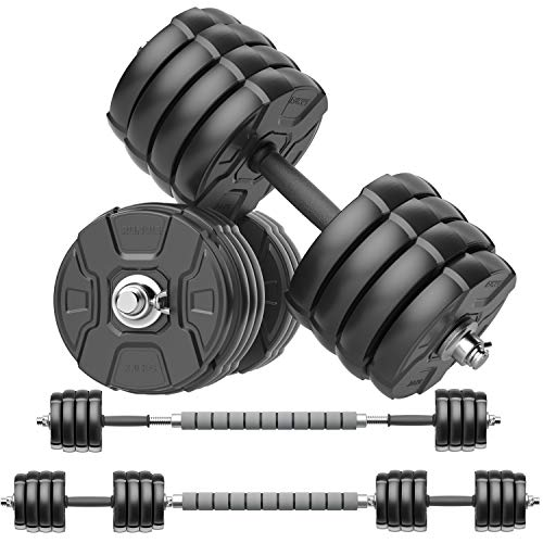 RUNWE Adjustable Dumbbells Barbell Set, Free Weight Set with Steel Connector at Home/Office/Gym Fitness Workout Exercises Training, All-Purpose for Men/Women/Beginner/Pro(90 lbs-2 Dumbbells in Total)
