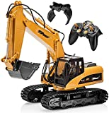Top Race 15 Channel Full Functional Remote Control Excavator Construction Tractor, Excavator Toy with 2.4Ghz Transmitter 2 in 1 with Interchangeable Shovel TR-215/211