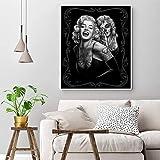 Retrato póster Lienzo Pintura Marilyn Monroe Tatuajes Impresiones Blanco y Negro Arte Pared Cuadros para Sala de Estar decoración imágenes 50X60 cm