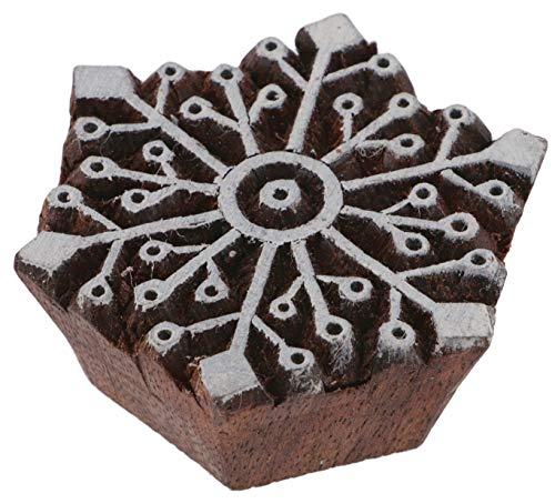 Guru-Shop Indischer Textilstempel, Stoffdruckstempel, Blaudruck Stempel, Holz Model - 6x6 cm Schneeflocke 1, Braun, Indische Holzstempel