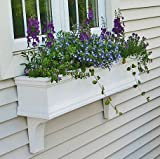 "FlowerWindowBoxes.com 30"" Charleston PVC Self-Watering Window Box - No Rot w/ 2 Brackets"