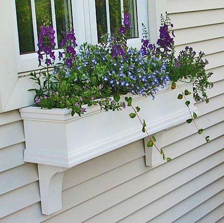 "FlowerWindowBoxes.com 30"" Charleston PVC Self-Watering Window Box - No Rot w/ 2 Brackets"