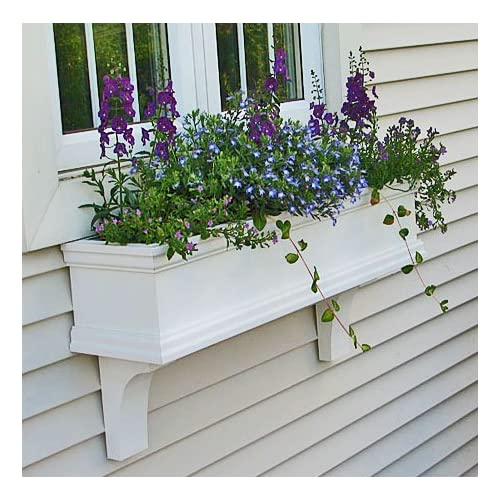 "FlowerWindowBoxes.com 30"" Charleston PVC Self-Watering Window Box - No Rot w"