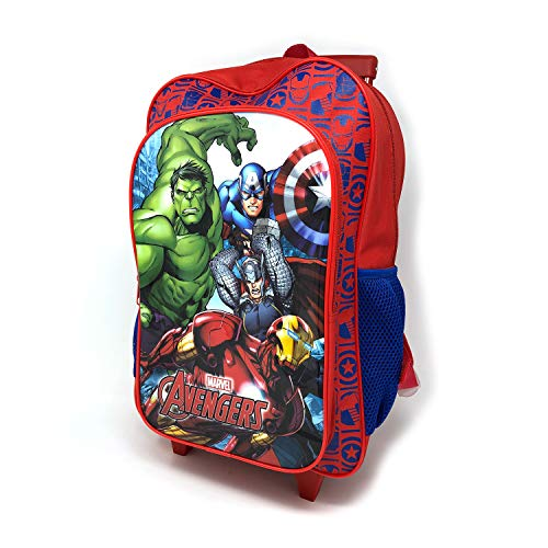 Children's Character Luggage Deluxe Wheeled Trolley Backpack Suitcase Cabin Bag School (Marvel Avengers)