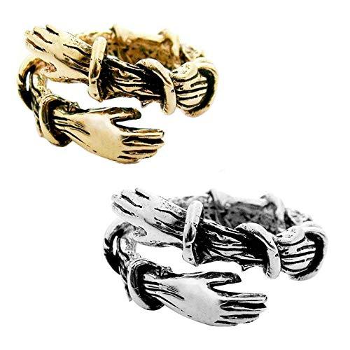 Hongshengchang 2021 Nuovo Anello Abbraccio Regolabile, Anello Che Abbraccia Le Mani con Spine Creative retrò, Anello Aperto Regolabile da Donna