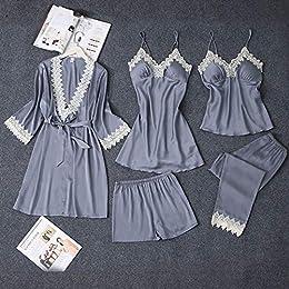 Femmes Pyjama,Satin De Soie 5 Pièces Femmes Pyjama