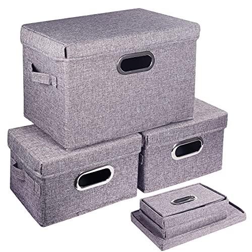 Foonii 3 Cajas De Almacenaje Ropa Con Tapa Cajas Organizadoras de Tela para Juguetes,Libros,Armario,Dormitorio,Hogar(Gris)