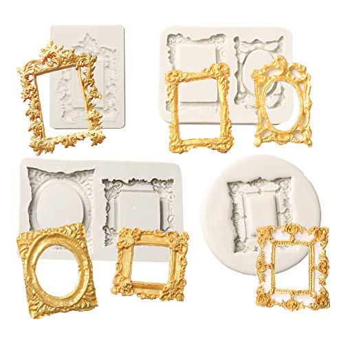QELEG - Molde de silicona para fondant, diseño ovalado, con marco de espejo