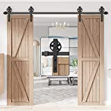 WINSOON 10FT Wood Double Sliding Barn Door Hardware Basic Black Big Spoke Wheel Roller Kit,5-18FT for Choose
