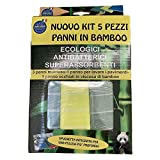 Nuovo Kit 5 Pezzi Panni in Bamboo Ecologici Antibatterici Superassorbenti 3 panni Multiuso 1 panno pavimenti 1 panno occhiali