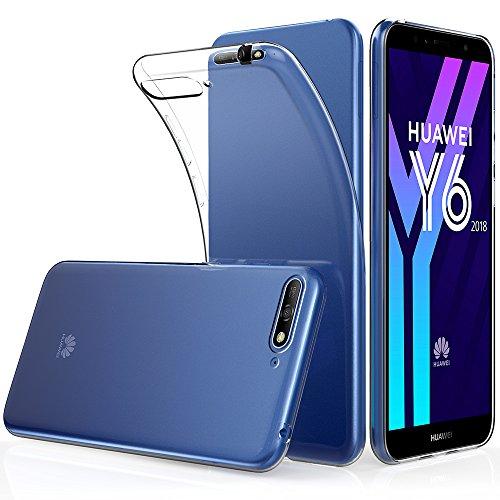 Peakally Huawei Y6 2018 Hülle, Soft Silikon Dünn Transparent Hüllen [Kratzfest] [Anti Slip] Durchsichtige TPU Schutzhülle Hülle Weiche Handyhülle für Huawei Y6 2018 5.7