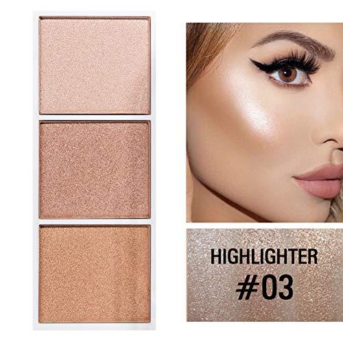 Allbesta 3 Farben Highlighter Palette mit Kontur Pulver Rouge Bronzer Make-Up Gesicht Profi Erröten Contouring Kosmetik