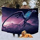 yueliang Mythical Dragon Galaxy Dragon - Manta de microfibra suave y cálida para sofá de cama, sofá individual, 60 x 80 pulgadas
