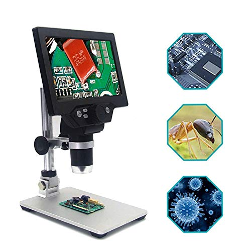 ZGQA-GQA G1200 12MP 7' HD Digital Microscope 1-1200X Continuous Zoom Magnifier Optical Instruments Digital Microscopes (Color : UK Pulg with Battey)