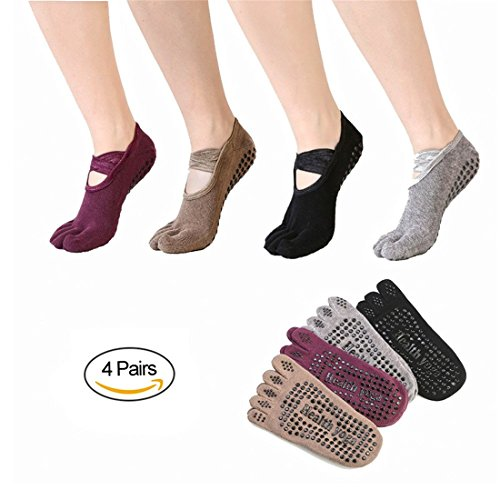 SANIQUEEN.G 4 Paar Damen rutschfeste Zehensocken Baumwolle Yoga Socken für Yoga, Pilates, Gymnastik Tanz Fitness (Gruppe 1)