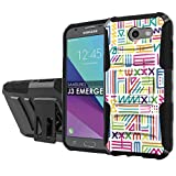 [NakedShield] [Black/Black] Total Defense Armor Case [Kickstand] [Holster] - [Color Ancient Text] Compatible for Samsung Galaxy [2017] [J3 Emerge] [5' Screen]