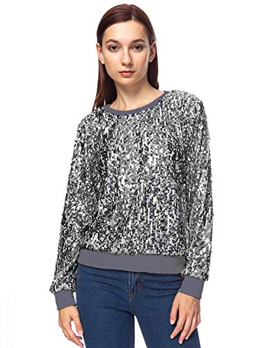 Anna-Kaci vrouwen Sparkly Sequin Crewneck Lange Mouw Glam Disco Bling Holiday Pullover Sweatshirt Top