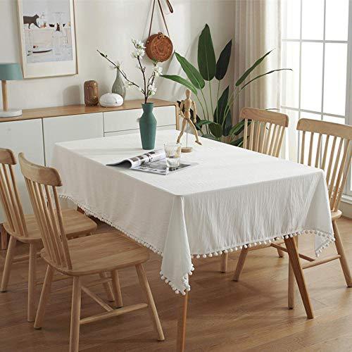 Yinaa Mantel moderno y simple estilo nórdico de color sólido de Navidad simple para mantel a prueba de polvo protector blanco 140 × 260 cm