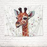 HVEST Giraffe Wall Hanging Tapestry Watercolor Cute Animal Tapestry Giraffe Backdrop for Kids Bedroom Living Room Dorm Party Decor, 60Wx40H inches