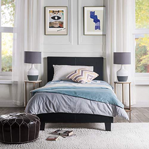PovKeever - Sängram av trä PU läder sängplattform med sänggavel stoppad (enkel)