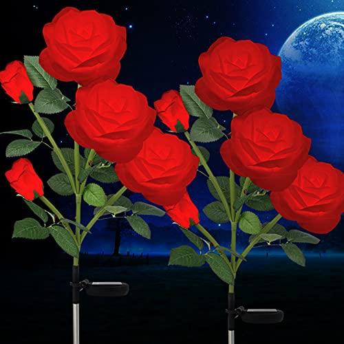 Solarlampen für Außen Garten, Wasserdicht Solarleuchten für Außen Deko, 2 x 5 LED Rose Lichter, LED Solarleuchten Garten Dekoration für Garten, Büsche, Rasenflächen, Zäune (Rot)