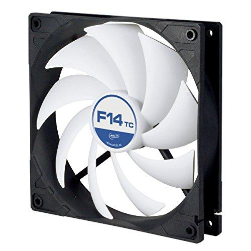 ARCTIC F14 TC – 140 mm Ventilador de Caja para CPU con Control de Temperatura, Motor Muy Silencioso con Exclusivo Sistema Antivibración, Computadora, 400-1350 RPM – Gris/Blanco
